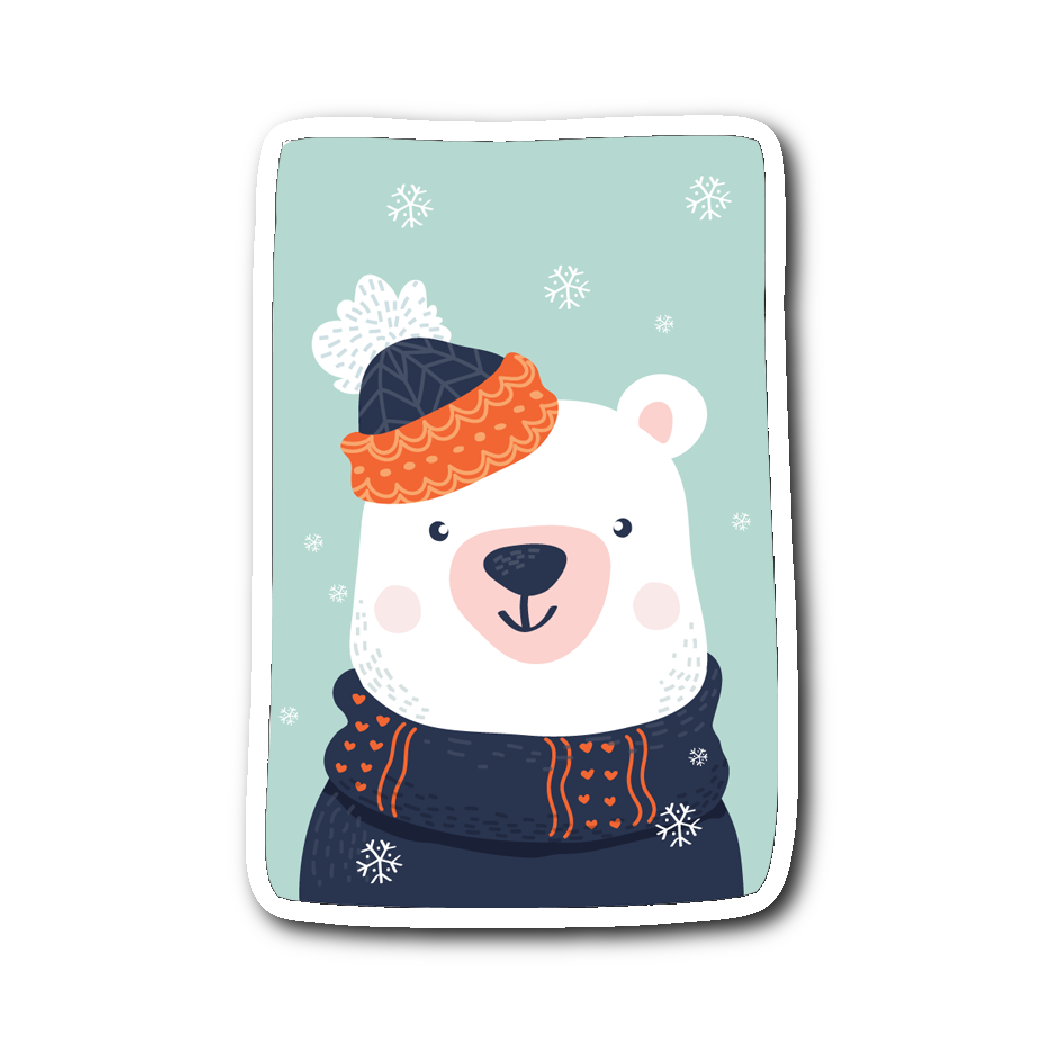 Adorable Animals in Winter Clothes - Polar Bear Sticker | Stickers | Witty Novelty