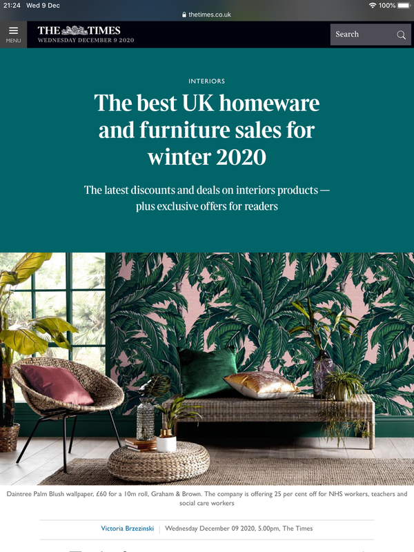 "First feature on The Times "" The best UK homeware and furniture sales for winter 2020"""