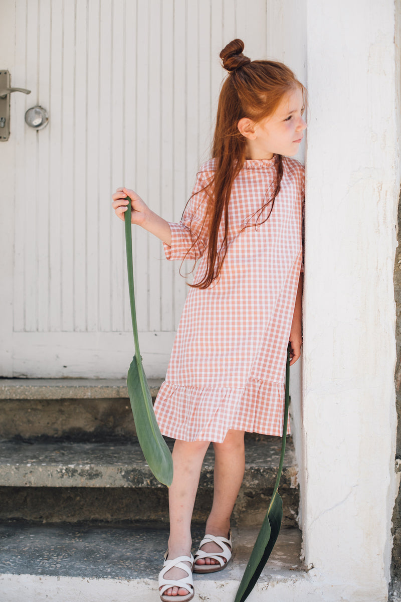 Organic Cotton Frill Dress | Coral