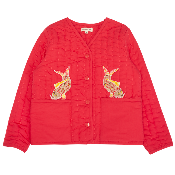 Hand Quilted Jacket - Fish embroidery
