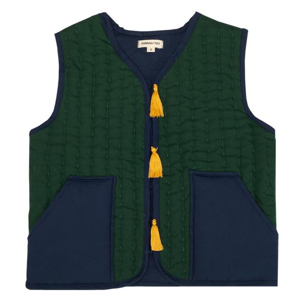 Hand Quilted Gilet -Tassel - Green /Black