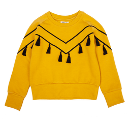 Tassel Embroidery Mustard Sweater