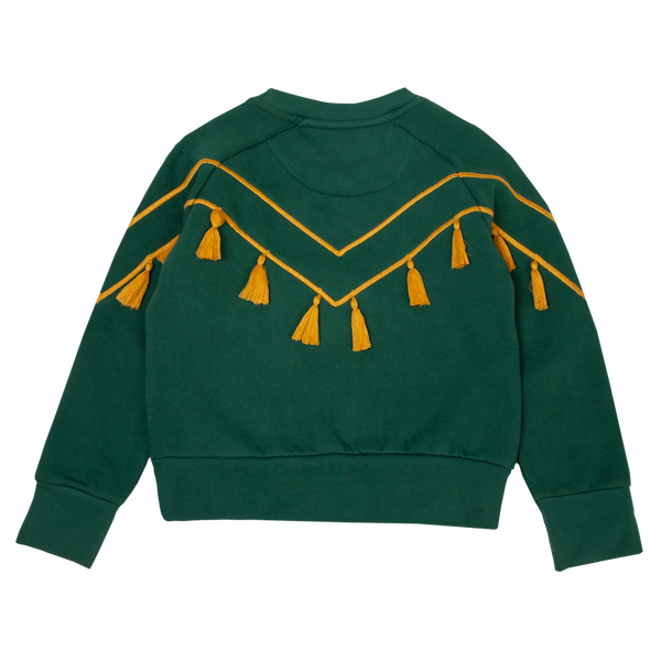 Tassel Embroidery Green Sweatshirt