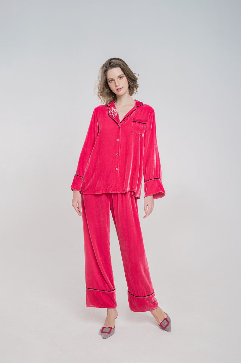 Velvet Pyjamas Pant | French Rose