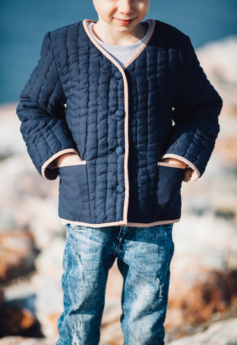 Classic Quilted Jacket-Dark Navy