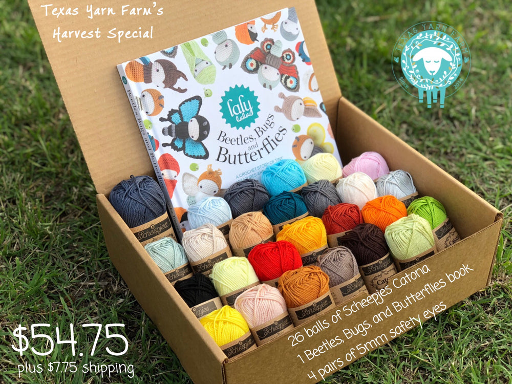 Lalylala's Beetles, Bugs and Butterflies Yarn Kit with Scheepjes Catona (Book included)