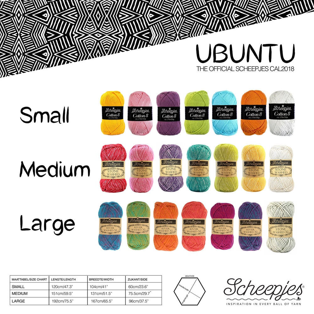 Scheepjes Ubuntu 2018 CAL - Large - 60 balls - Stone Washed XL and River Washed XL