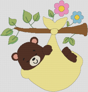 Bear On A Branch - Pattern and Print