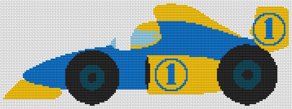 Blue and Yellow Race Car