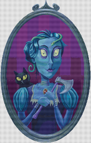 Blue Lady Portrait - Pattern and Print