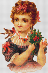 Christmas Girl With Bird And Holly - Pattern and Print