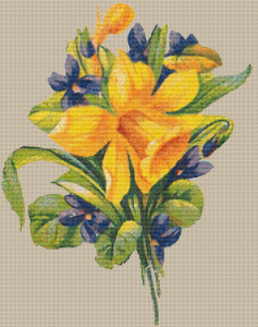 Daffodil And Violets - Pattern and Print