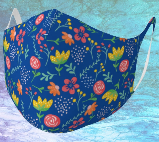 Fresh Summer Flowers Double Knit Mask