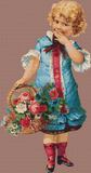 Vintage Girl with Flower Basket