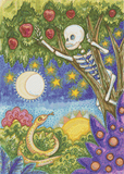 Apple Picking Skeleton - Pattern and Print