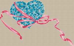 Blue Flower Heart - Pattern and Print