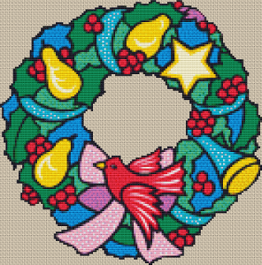 Christmas Wreath - Pattern and Print