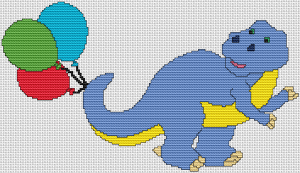 Dino with Balloons - Pattern and Print