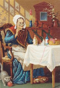 Elderly Lady Taking Medicine Trading Card - Pattern and Print