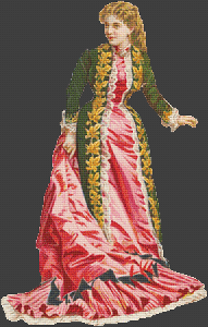 Lady in Pink and Green Gown