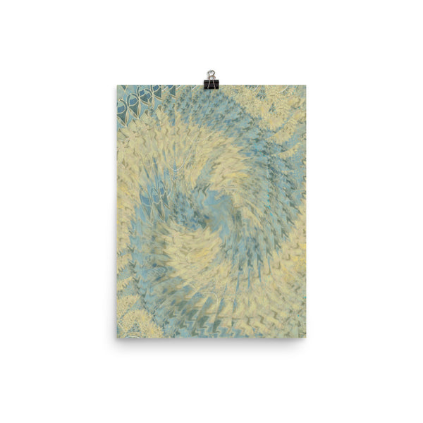 Blue Beige Photo Paper Poster - Pattern and Print