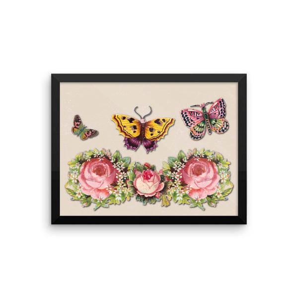 Butterflies and Roses Framed Matte Poster - Pattern and Print