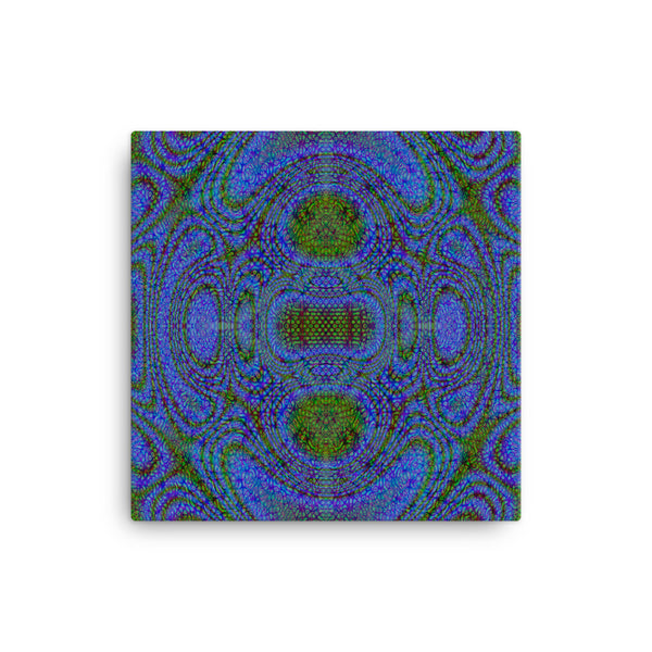 Blue Alien 16 x 16 Canvas Print - Pattern and Print