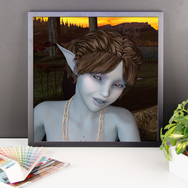 Blue Fae Framed Matte Poster - Pattern and Print