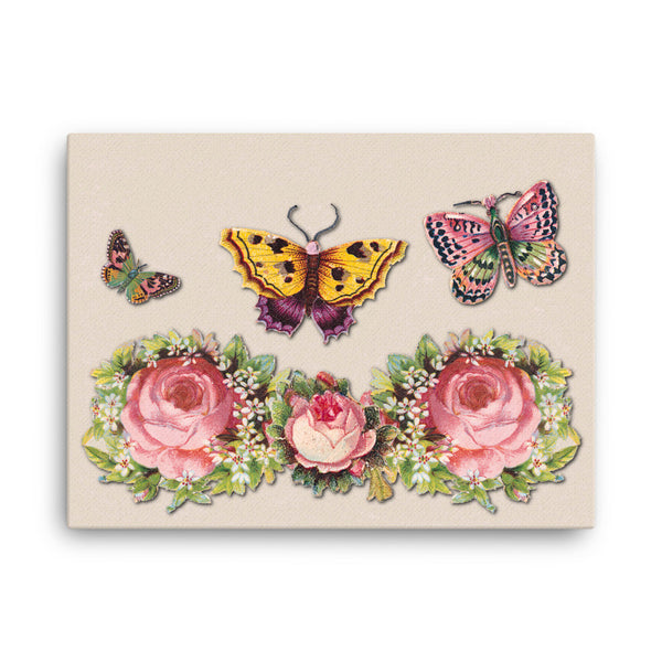 Butterflies and Roses 24 x 18 Canvas Print - Pattern and Print