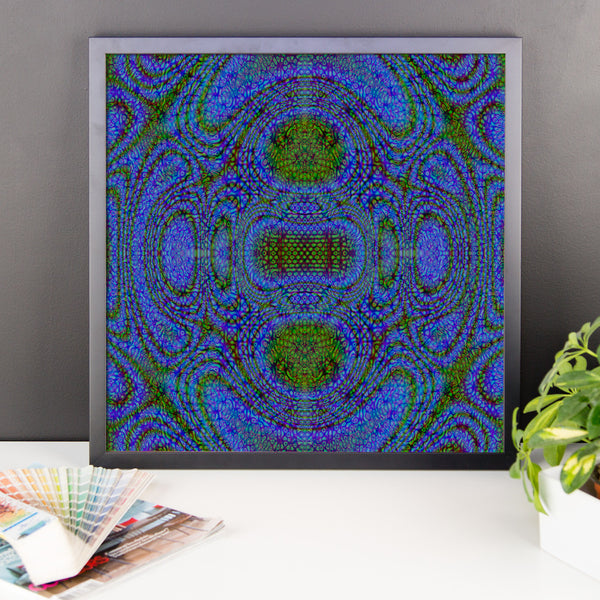 Blue Alien Framed Matte Poster - Pattern and Print