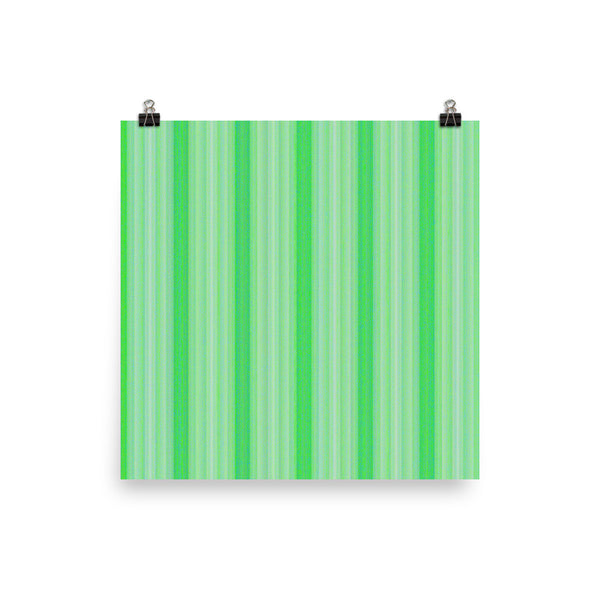 Green Stripes Photo Paper Poster