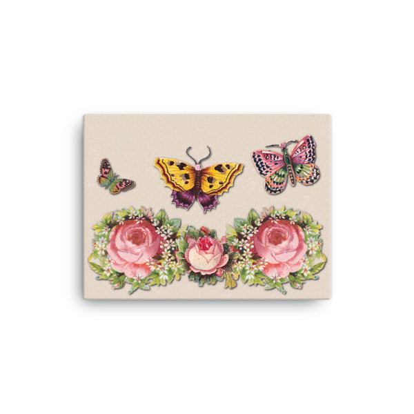 Butterflies and Roses 16 x 12 Canvas Print - Pattern and Print