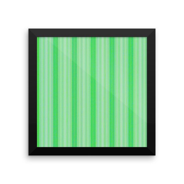 Green Stripes Framed Photo Paper Poster