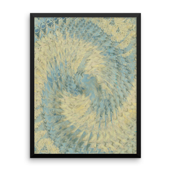 Blue Beige Framed Matte Poster - Pattern and Print