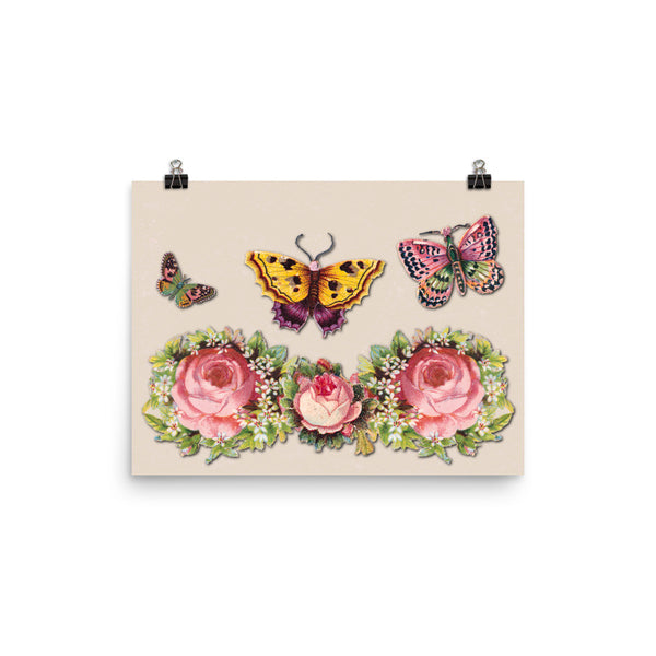 Butterflies and Roses Photo Paper Poster - Pattern and Print
