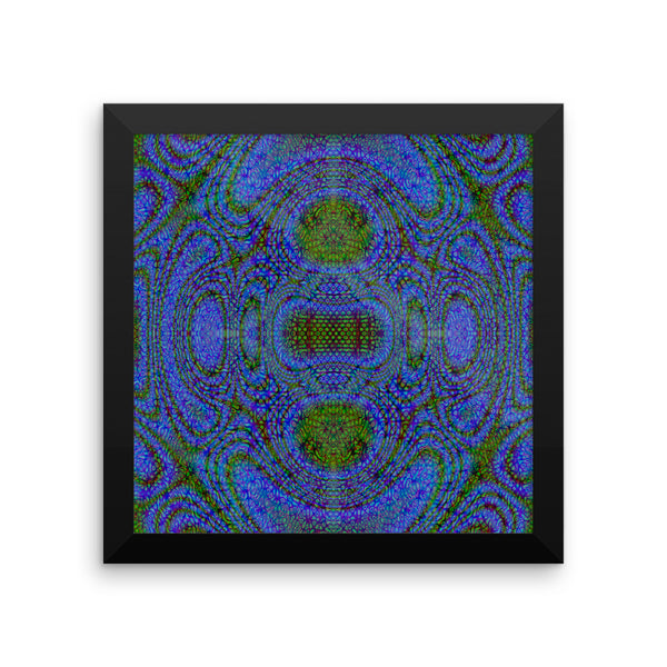 Blue Alien Framed Photo Paper Poster - Pattern and Print