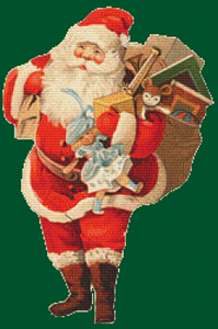 Santa with a Blue Doll - Pattern and Print
