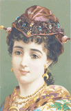 Vintage Lady in a Jeweled Cap - Pattern and Print