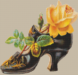Vintage Yellow Rose in a Shoe - Pattern and Print