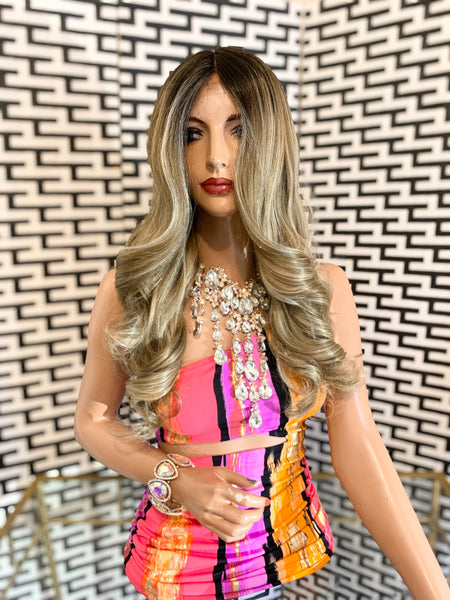 "GIGI lace front wig 18"" long ash blonde balayage hair"