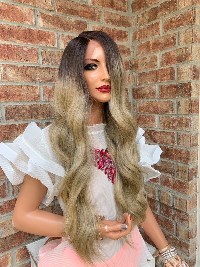 BAMBI Blonde Ombré Balayage Highlights Hair Lace Wig 18""