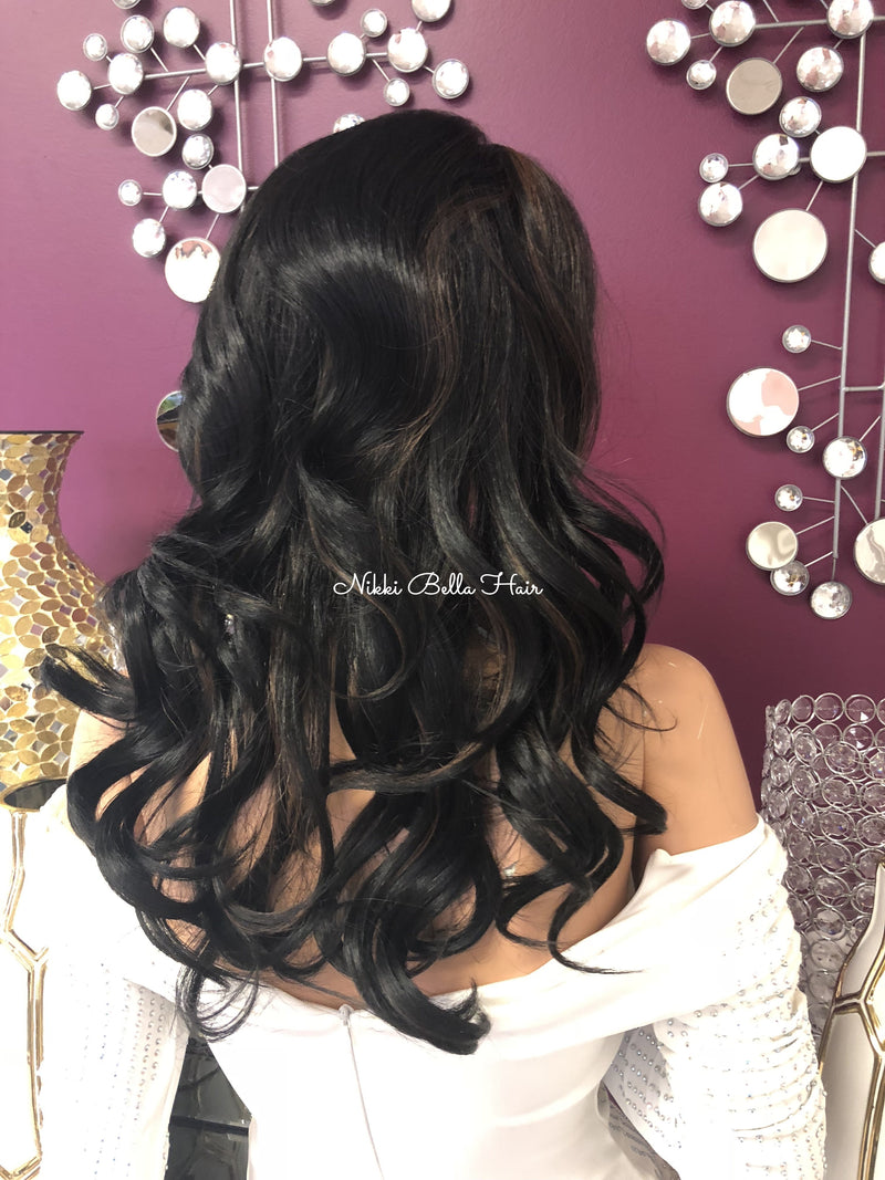 "Black Blonde Highlights Multi Parting Full Lace Wig | 14"" Majorie 1018"