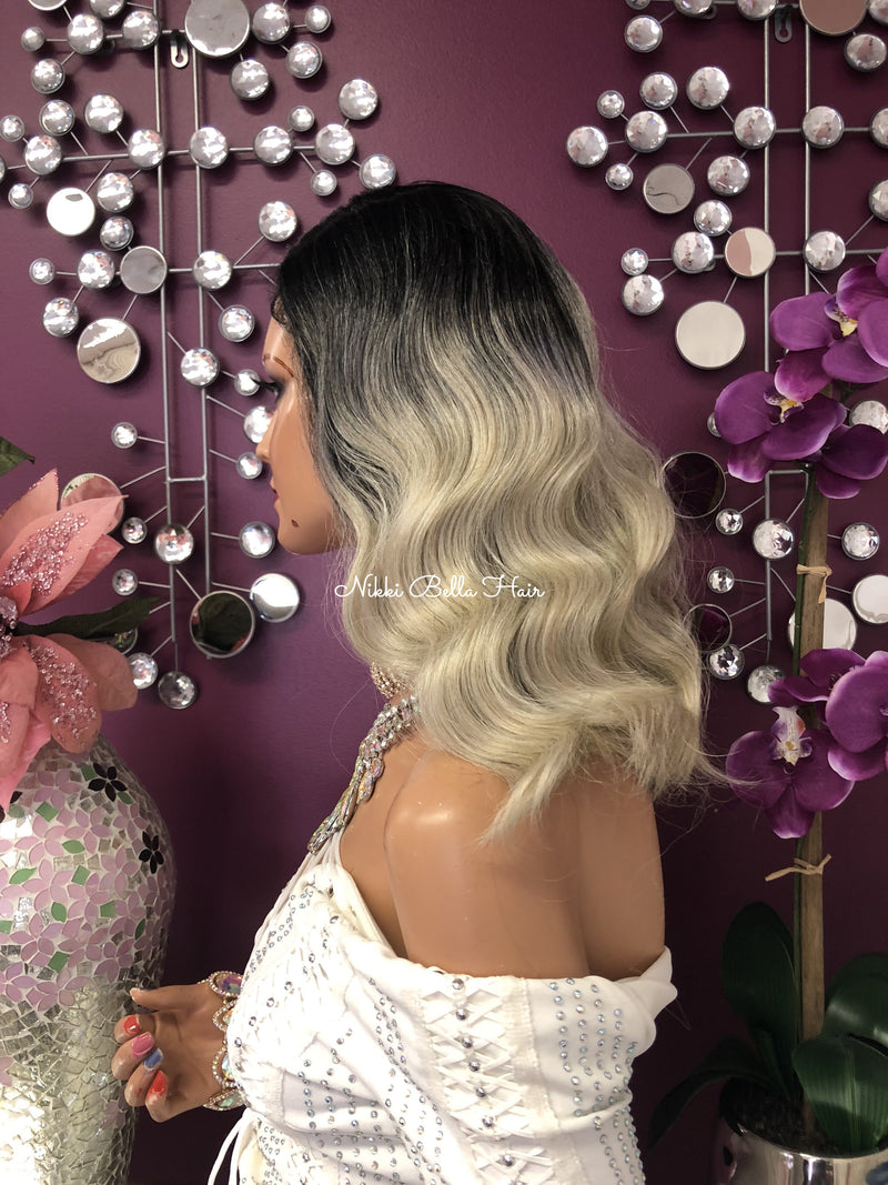 "Ash Blonde Ombre Full Wig | 10"" 1018 -e37"