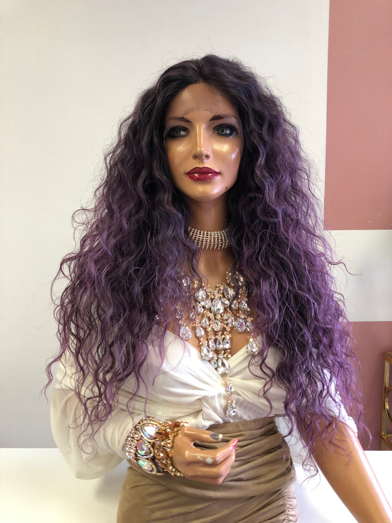 "Purple Wavy Hair Lace Front Wig 24"" 0319 Masquerade"