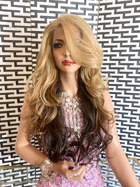 "VANESSA  lace front wig 26""  long blonde ombré hair"