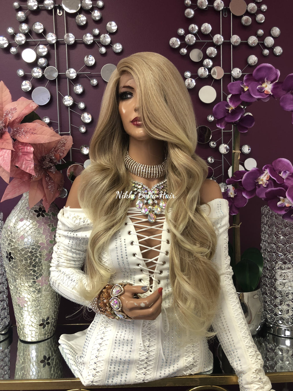 "Blonde Highlights Swiss Lace Front Wig | 24"" Brooke 1018"