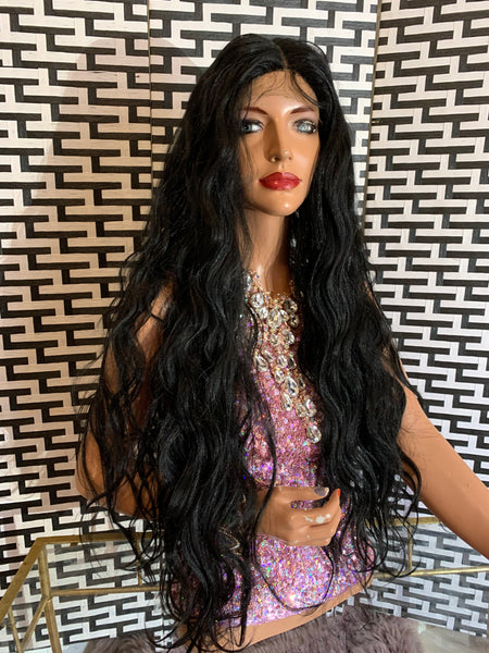 "ROSA lace front wig 30""  long black soft body wavy hair"