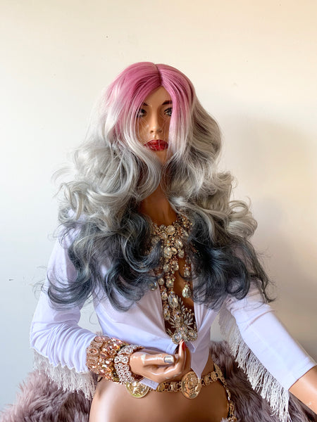 "Pink and Gray Lace Wig 22"" 1119"