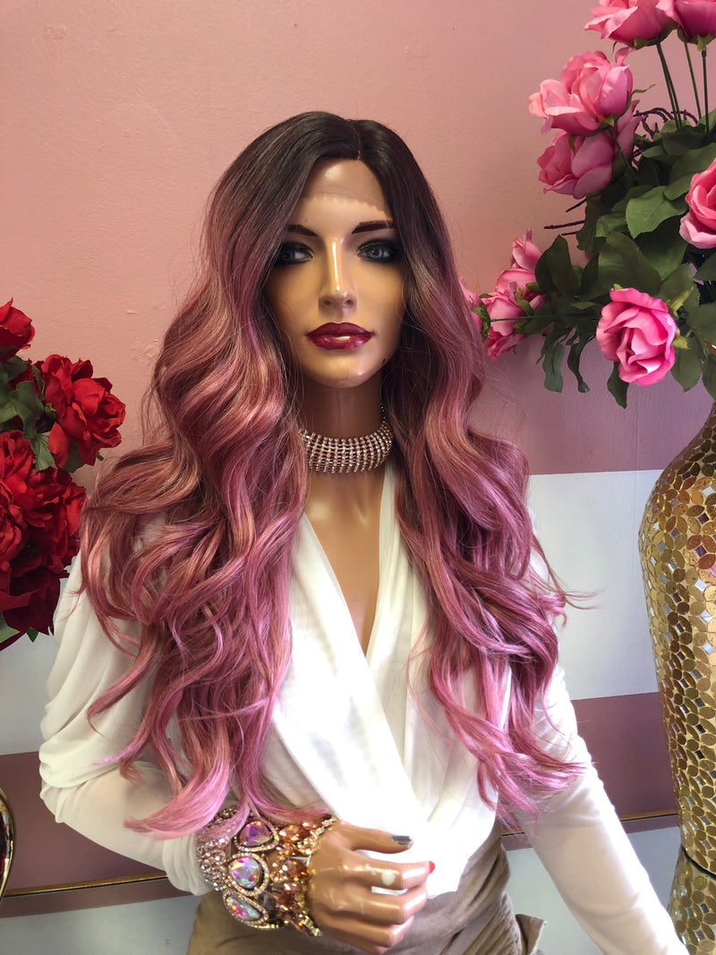 "Pink ombre lace front Wig 22"" 0219 29"