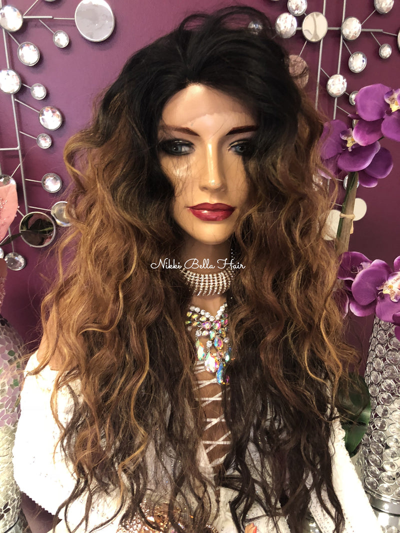 Ombre Brown Blond Highlights Swiss Lace Front Wig 24"